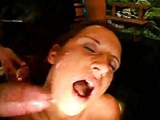 Bukkake Sperm Orgy with a MILF!