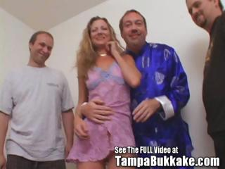 Milfy Redhead Sherry Gets Gangbanged and Bukkaked
