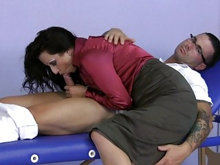 MILF Wearing Satin Gives A Handjob