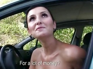 Naughty milf fucked in public for cash