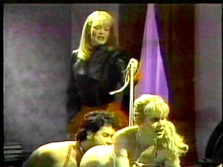 Two sluts and guy in BDSM trio