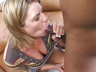 Slurping Interracial Blowjob Delights with MILF