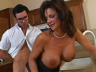 Stunning busty brunette milf getting her cunt
