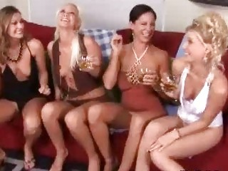 Classy drunk MILF ladies having wild lesbo group