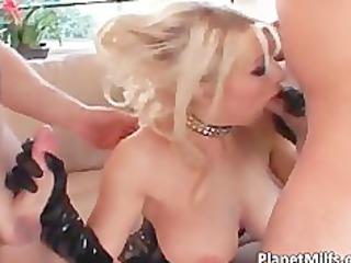 Nasty blond MILF with pierced pussy gets