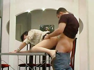 Sex on kitchen table with tasty Mature Lady