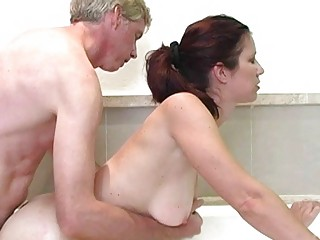 Hot redhead milf with big breasts gets drilled