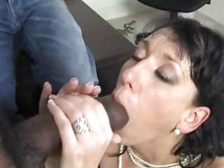 Randy brunette momma with huge hooter sucks big