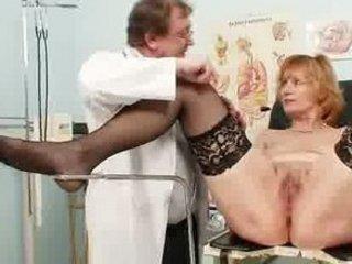 Redhead granny dirty pussy stretching in gyn