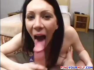 Busty brunette MILF mom is in a porn audition and