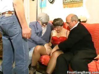 Busty big boobed old MILF slut sucking part4