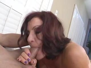 Sexy older brunette hair masterfully sucks knob
