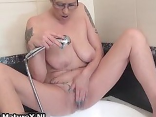 Tattooed mature housewife playing part6