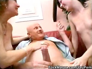 Two Matures Cock Sucks A Lucky Mature As Well