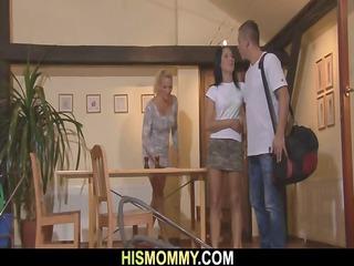 Horny mom seduces sons GF