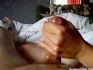 Amateur wife gives handjob with big cumshot