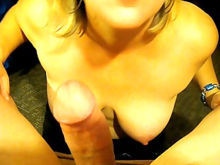 Milfs big tits and sucking his dick