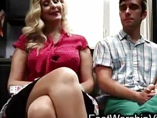 Guy fucks and licks feet on milf