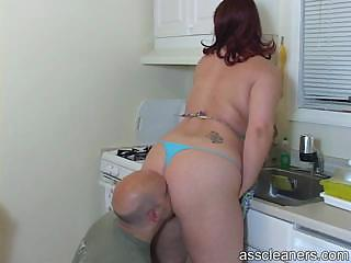 Husband licks her wife`s big fat ass as his wife