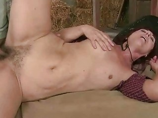 Horny granny getting fucked in the barn