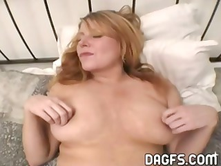 Busty MILF gets her pussy toyed and her ass