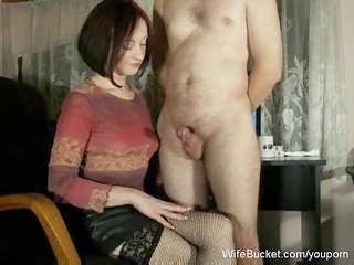 MILF wife gives mean handjobs