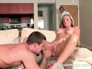 Blonde MILF Sue fucking with rough guy
